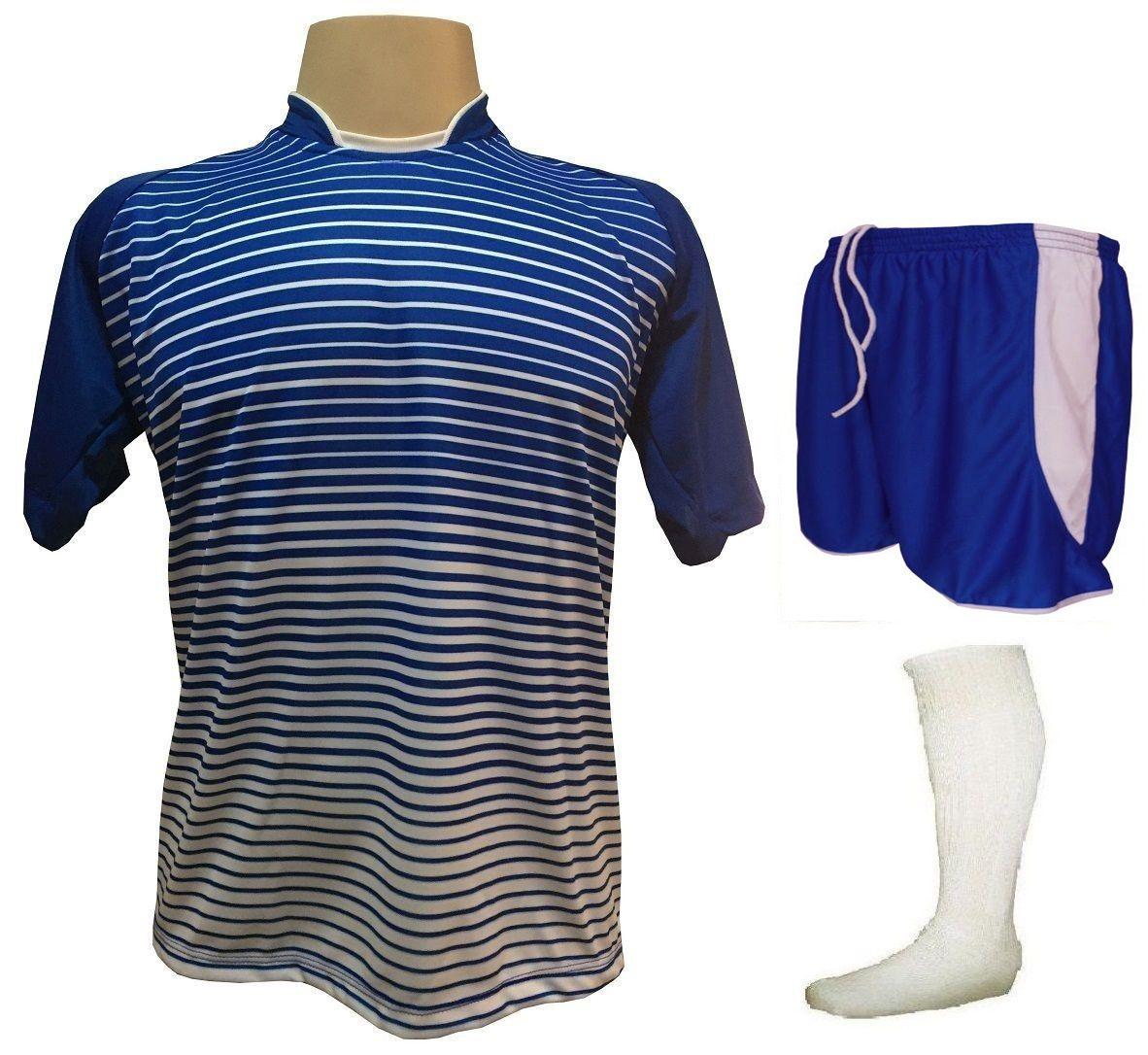 Fardamento Completo modelo City 18+1 (18 Camisas Royal/Branco + 18 Calções Copa Royal/Branco + 18 Pares de Meiões Brancos + 1 Conjunto de Goleiro) + Brindes
