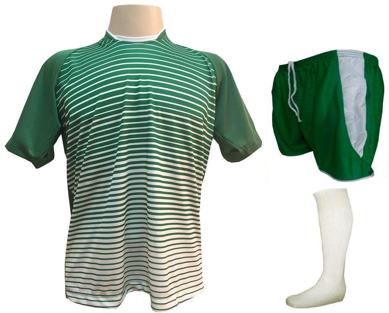 Fardamento Completo modelo City 18+1 (18 Camisas Verde/Branco + 18 Calções Copa Verde/Branco + 18 Pares de Meiões Brancos + 1 Conjunto de Goleiro) + Brindes