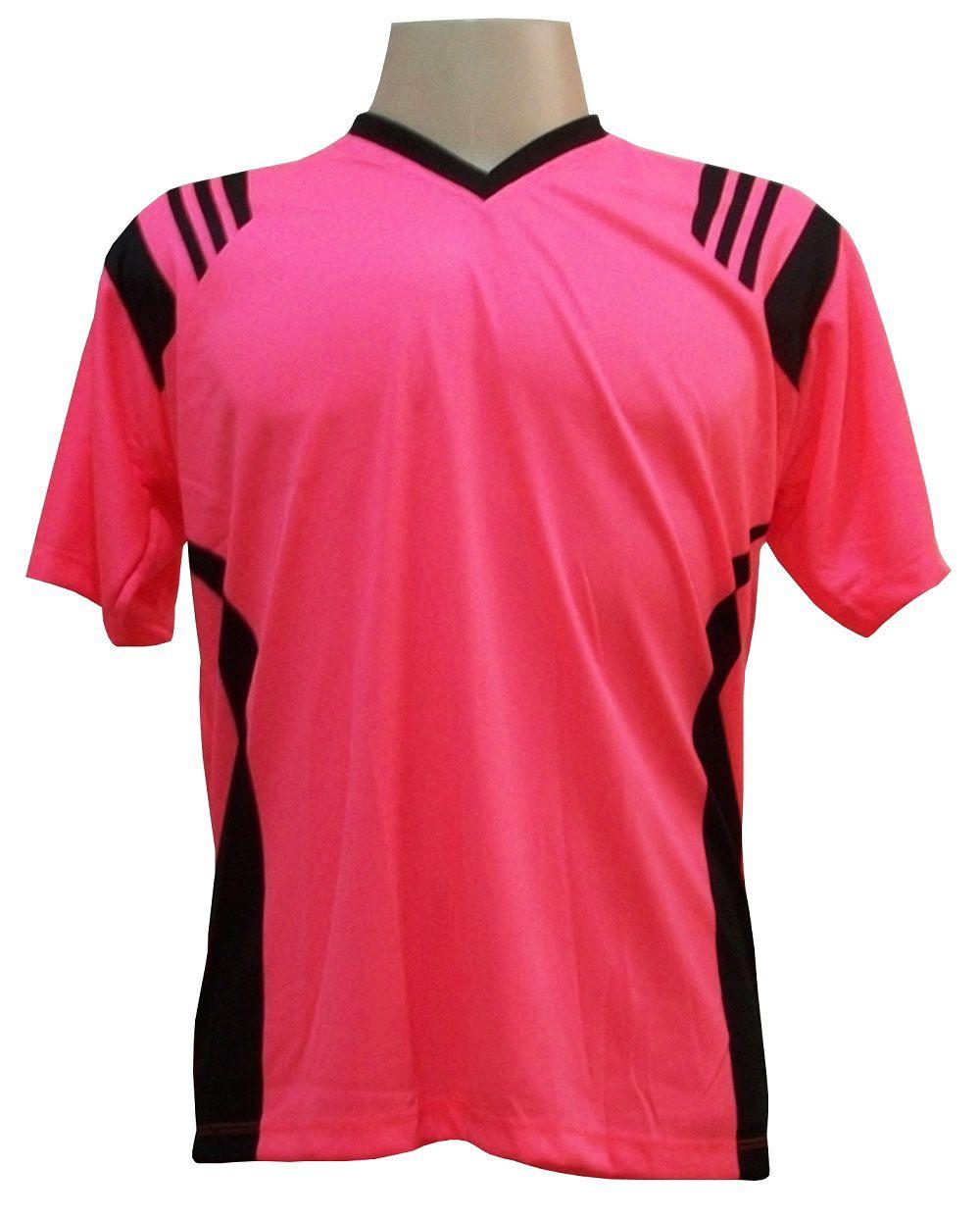 Jogo de Camisa com 12 unidades modelo Roma Rosa/Preto + 1 Goleiro + Brindes