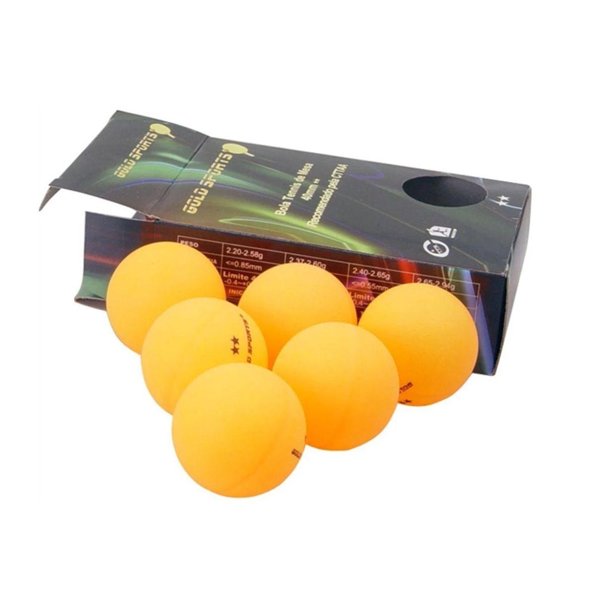 Kit 6 Bolas Para Tênis de Mesa 2 Star - Gold Sports