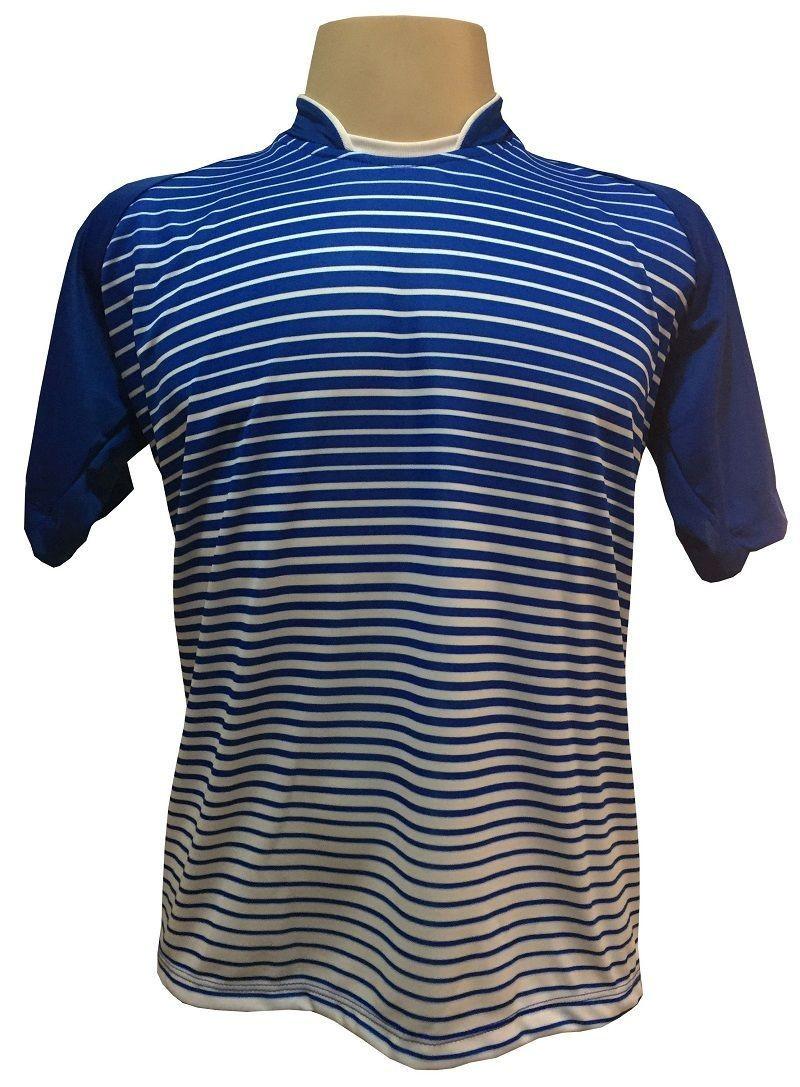 Uniforme Esportivo com 12 camisas modelo City Royal/Branco + 12 calções modelo Copa + 1 Goleiro + Brindes