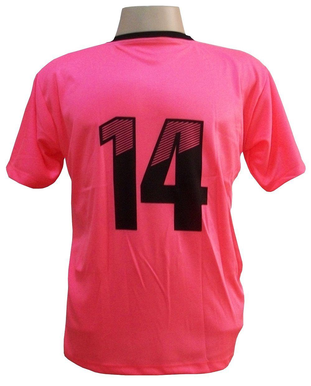 Uniforme Esportivo com 12 camisas modelo Roma Rosa/Preto + 12 calções modelo Madrid Preto + Brindes