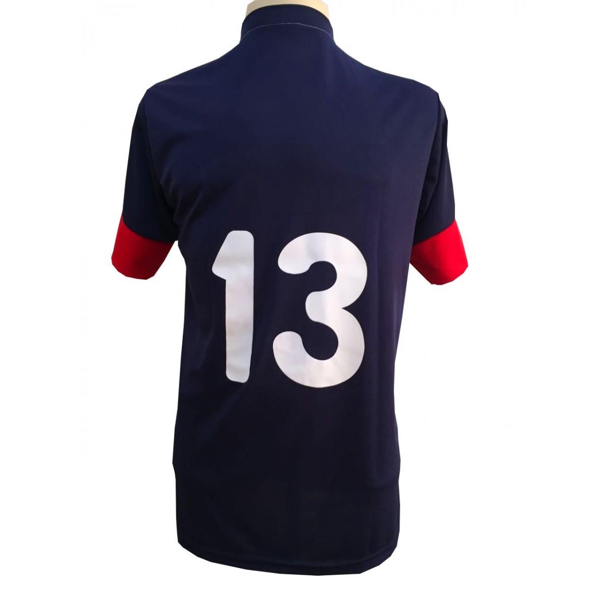 Uniforme Esportivo com 14 camisas modelo Sporting Marinho/Vermelho/Branco + 14 calções modelo Madrid + 1 Goleiro + Brindes