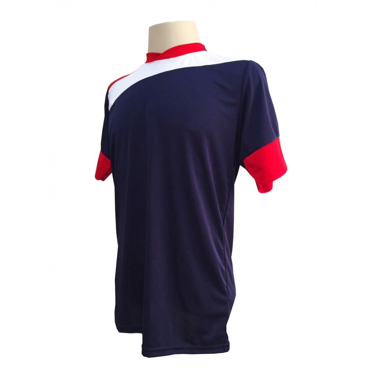 Uniforme Esportivo com 14 camisas modelo Sporting Marinho/Vermelho/Branco + 14 calções modelo Madrid Branco + Brindes