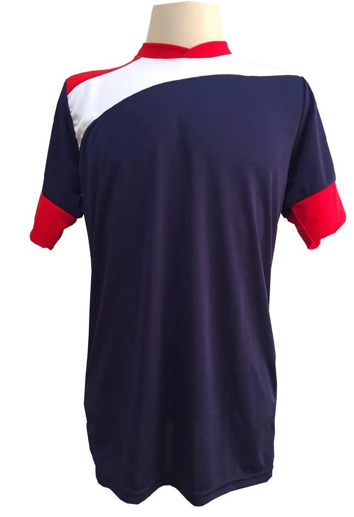 Uniforme Esportivo com 14 camisas modelo Sporting Marinho/Vermelho/Branco + 14 calções modelo Madrid Marinho + Brindes