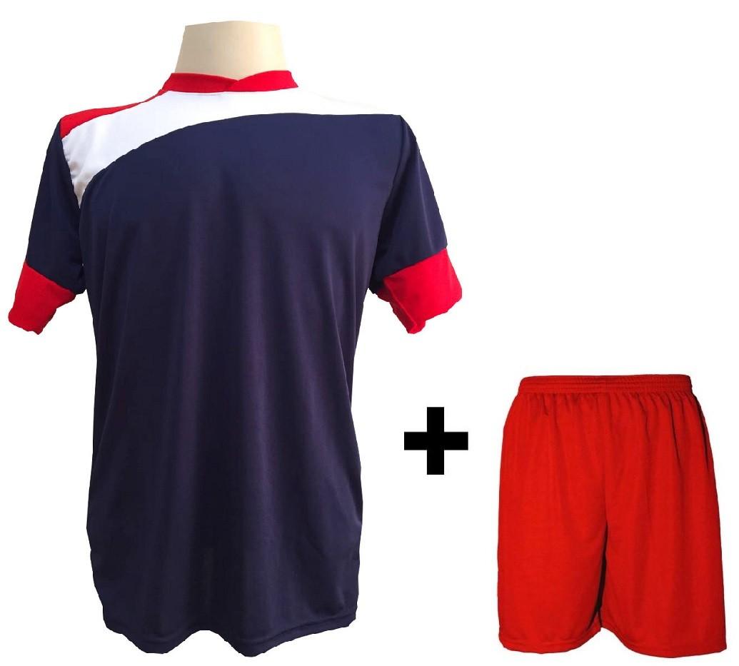 Uniforme Esportivo com 14 camisas modelo Sporting Marinho/Vermelho/Branco + 14 calções modelo Madrid Vermelho + Brindes
