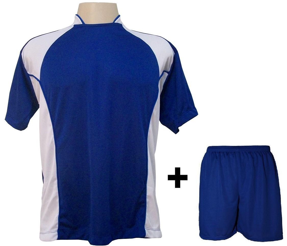 Uniforme Esportivo com 14 camisas modelo Suécia Royal/Branco + 14 calções modelo Madrid + 1 Goleiro + Brindes