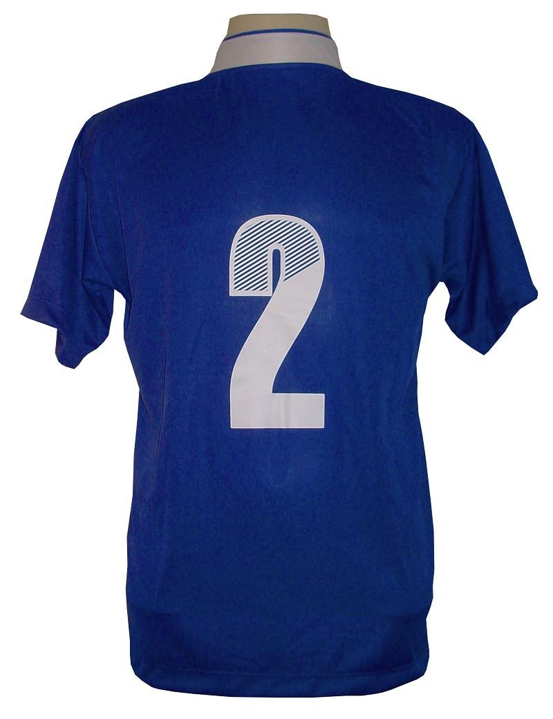 Uniforme Esportivo com 14 camisas modelo Suécia Royal/Branco + 14 calções modelo Madrid Royal + Brindes
