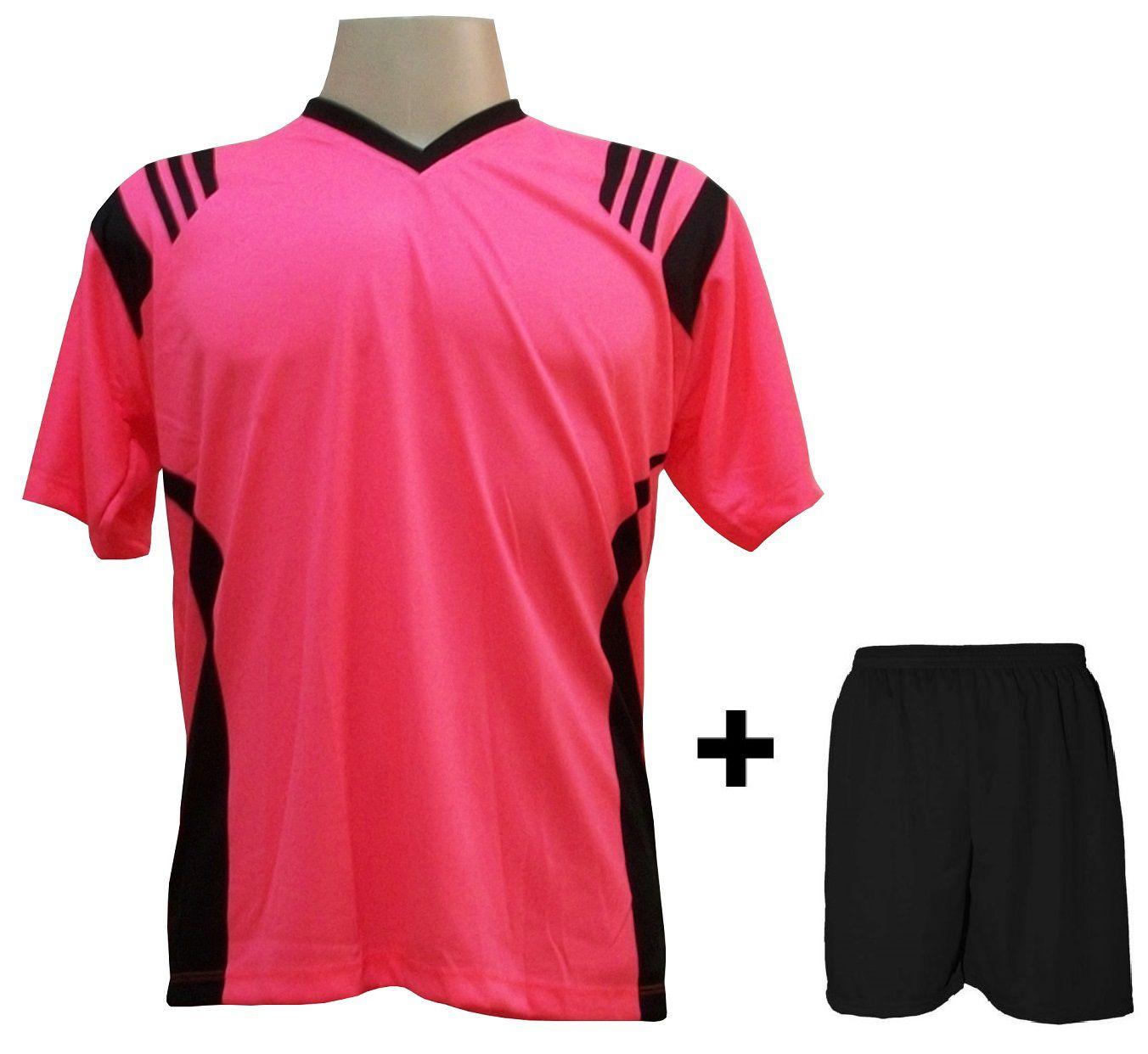 ea12e255b3 Uniforme Esportivo com 18 camisas modelo Roma Rosa Preto + 18 calções modelo  Madrid + 1 Goleiro + Brindes