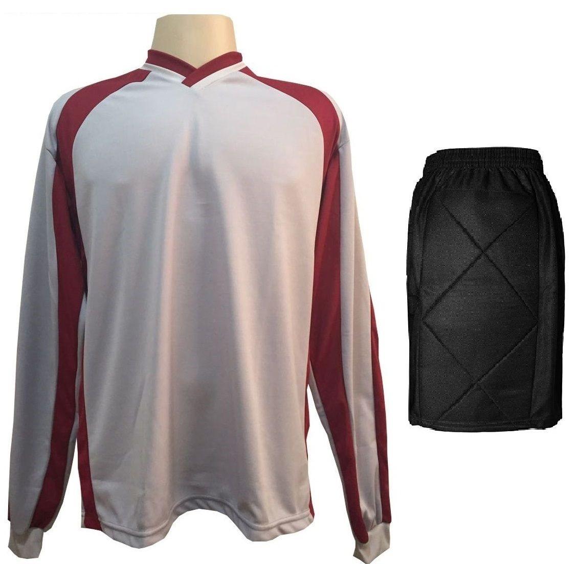 Uniforme Esportivo com 20 camisas modelo Milan Preto/Vermelho + 20 calções modelo Copa + 1 Goleiro + Brindes