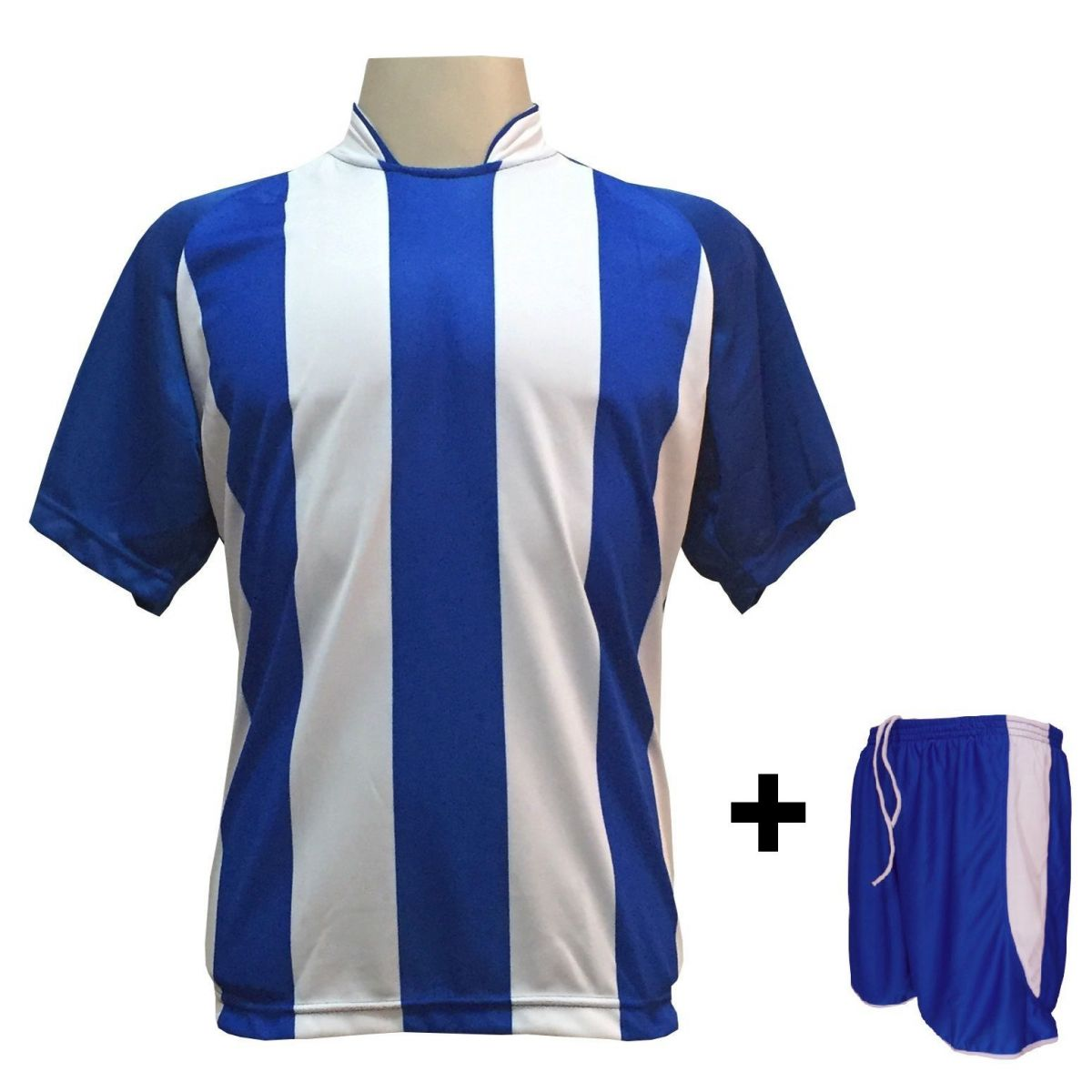 Uniforme Esportivo com 20 camisas modelo Milan Royal/Branco + 20 calções modelo Copa Royal/Branco + Brindes