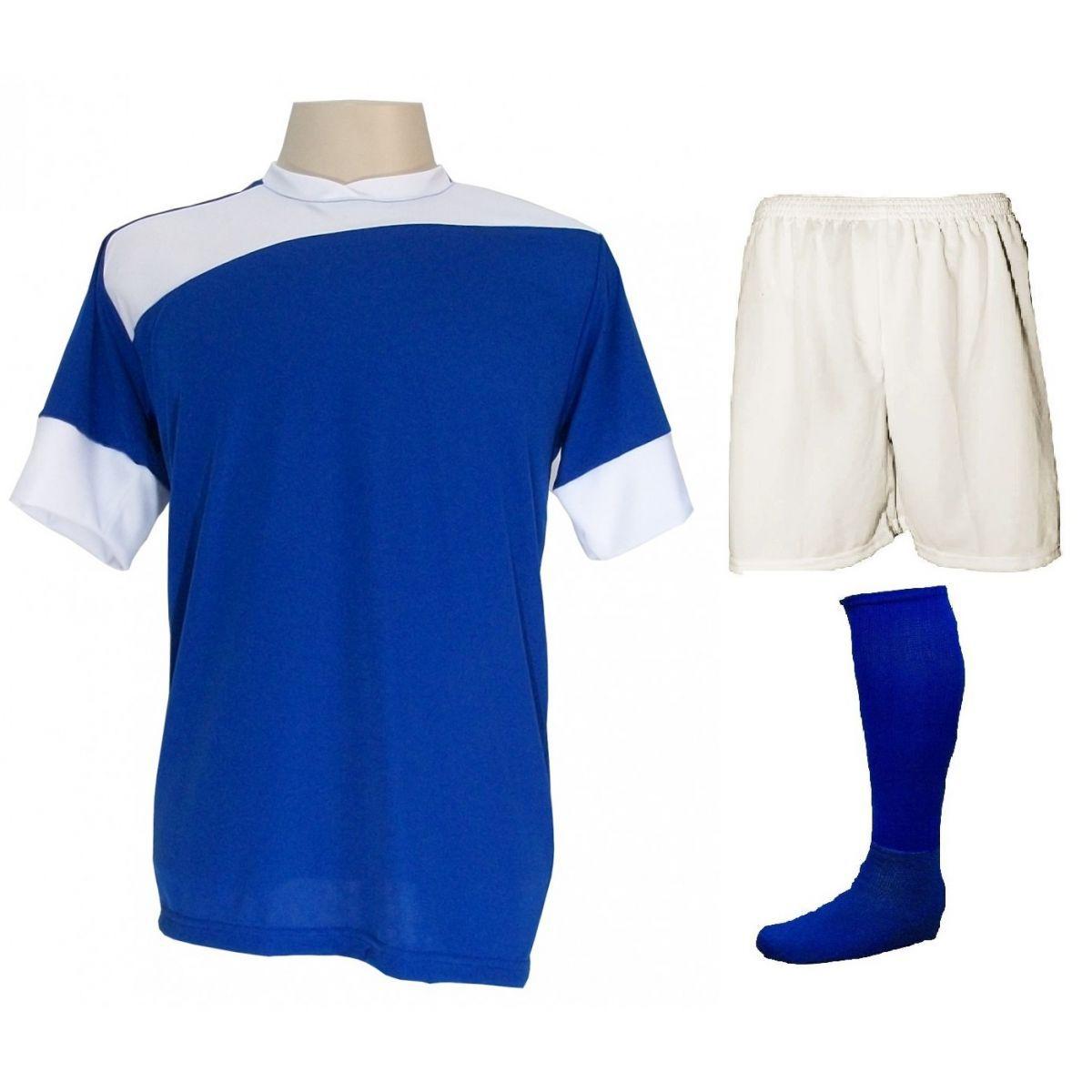 Uniforme Esportivo Completo modelo 20+1 (20 camisas Sporting Royal/Branco + 20 calções Madrid Branco + 20 pares de meiões Royal + 1 conjunto de goleiro) + Brindes