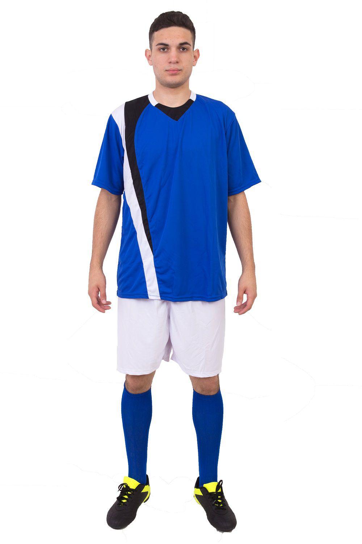 Uniforme Esportivo Completo modelo PSG Azul 14+1 (14 camisas Royal/Preto/Branco + 14 calções Madrid Branco + 14 pares de meiões Royal + 1 conjunto de goleiro)