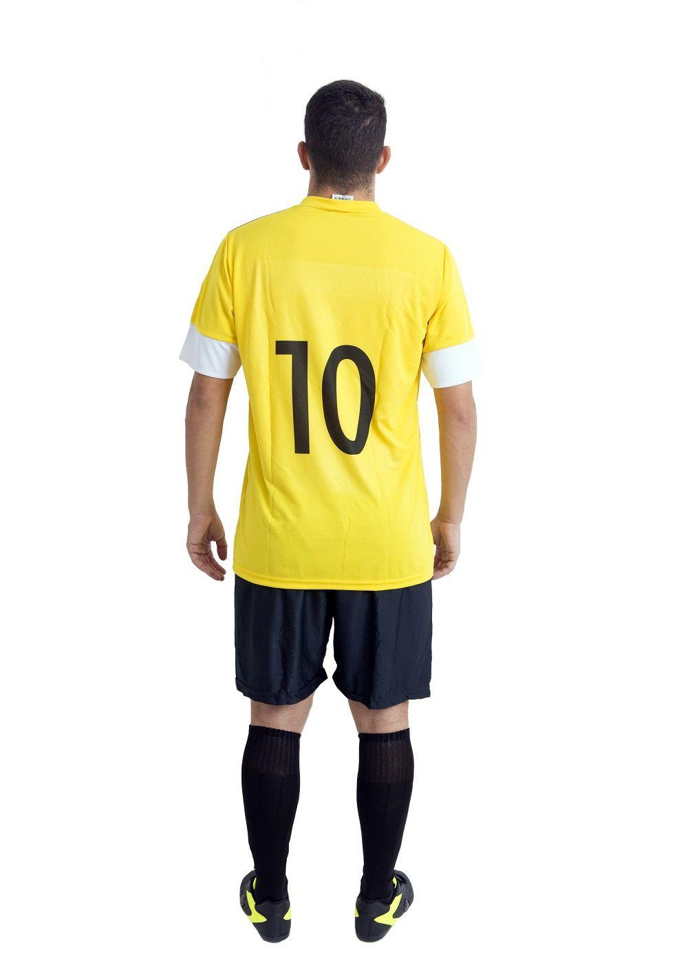 Uniforme Esportivo Completo modelo Sporting 14+1 (14 camisas Amarelo/Preto/Branco + 14 calções Madrid Preto + 14 pares de meiões Pretos + 1 conjunto de goleiro) + Brindes