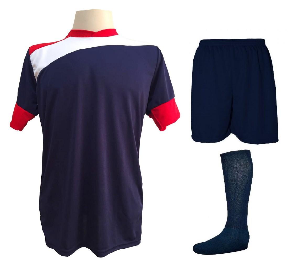Uniforme Esportivo Completo modelo Sporting 14+1 (14 camisas Marinho/Vermelho/Branco + 14 calções Madrid Marinho + 14 pares de meiões Marinhos + 1 conjunto de goleiro) + Brindes