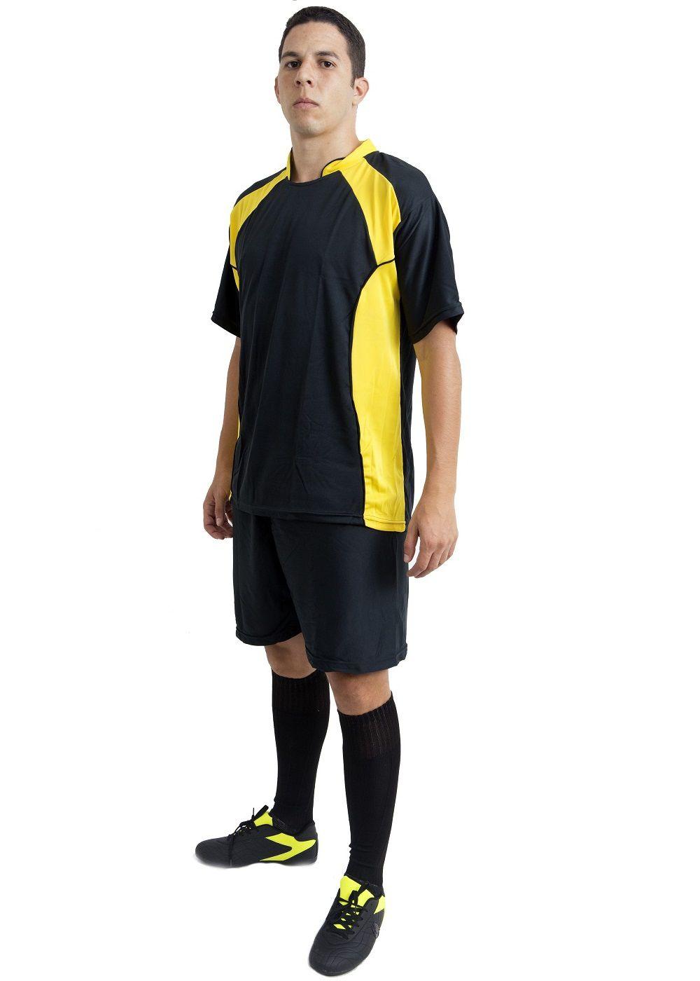 Uniforme Esportivo Completo modelo Suécia 14+1 (14 camisas Preto/Amarelo + 14 calções Madrid Preto + 14 pares de meiões Preto + 1 conjunto de goleiro) + Brindes