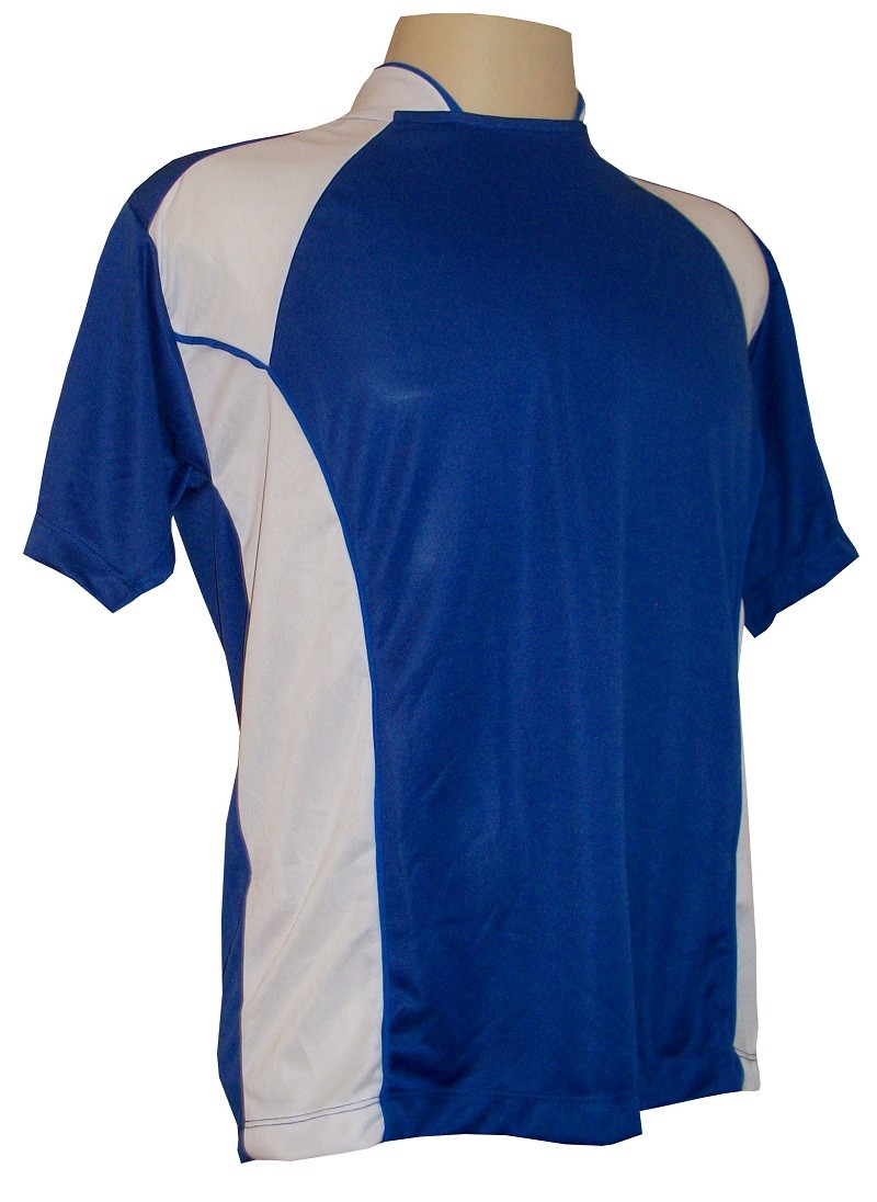 Uniforme Esportivo Completo modelo Suécia 14+1 (14 camisas Royal/Branco + 14 calções Madrid Branco + 14 pares de meiões Royal + 1 conjunto de goleiro) + Brindes