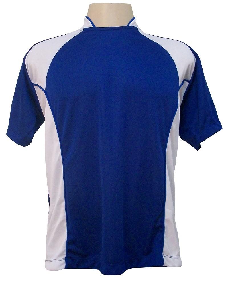 Uniforme Esportivo Completo modelo Suécia 14+1 (14 Camisas Royal/Branco + 14 Calções Madrid Royal + 14 Pares de Meiões Brancos + 1 Conjunto de Goleiro) + Brindes
