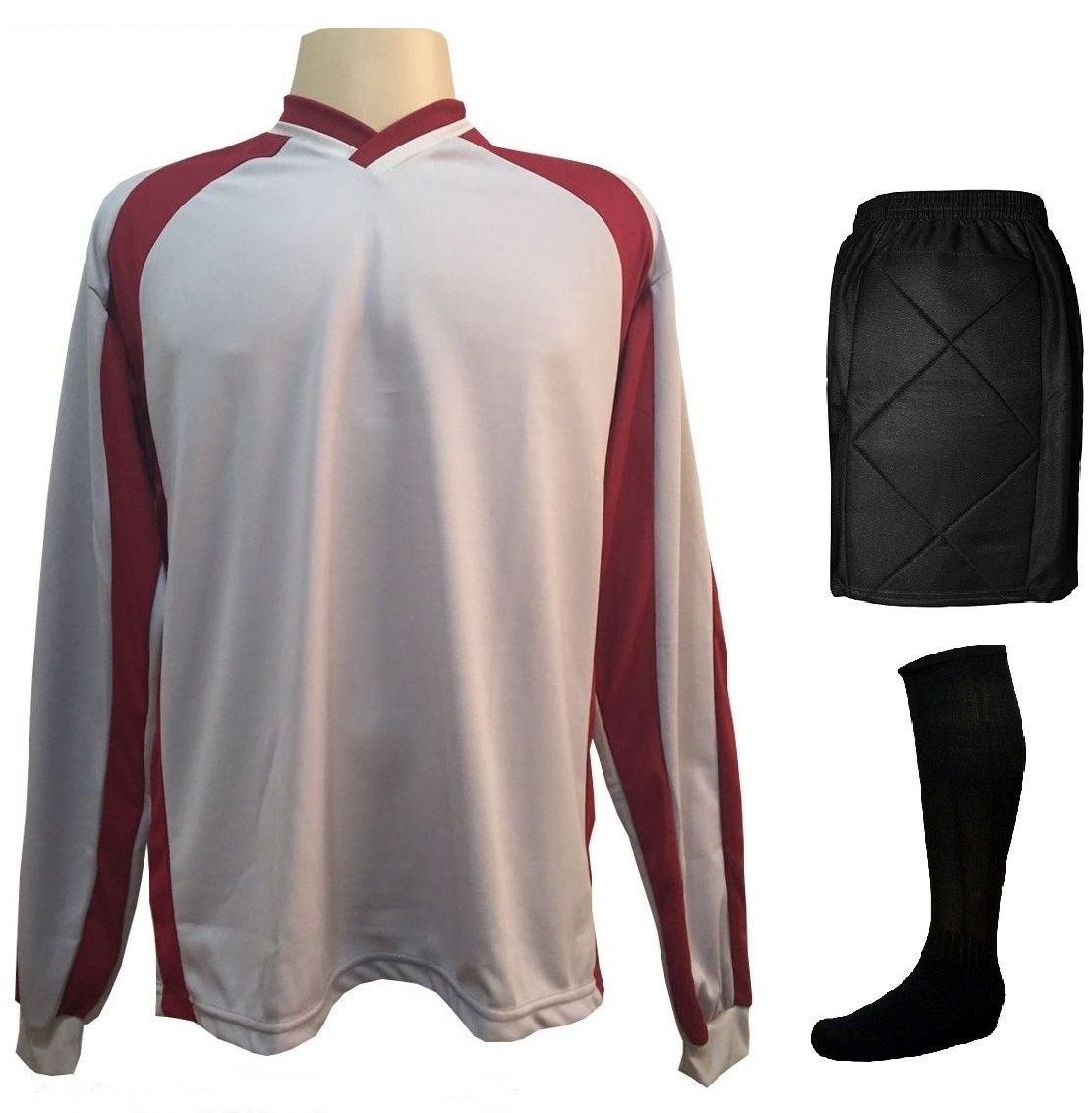 Uniforme Esportivo Completo modelo Suécia 14+1 (14 camisas Vinho/Branco + 14 calções Madrid Branco + 14 pares de meiões Brancos + 1 conjunto de goleiro) + Brindes