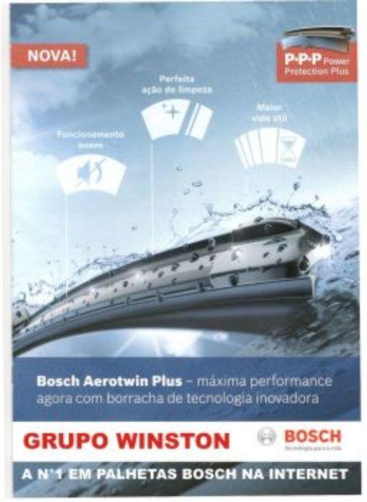 Palheta Bosch Aerotwin Plus Limpador de para brisa Bosch VW CrossFox (Fase II) ano 2012 em diante