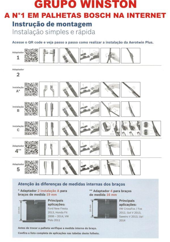 Palheta Bosch Aerotwin Plus Limpador de para brisa Bosch X1 2009 até 2014