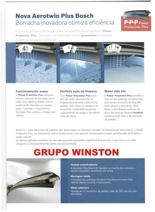 Palheta Bosch Aerotwin Plus Limpador de para brisa Bosch X3 2011 em diante