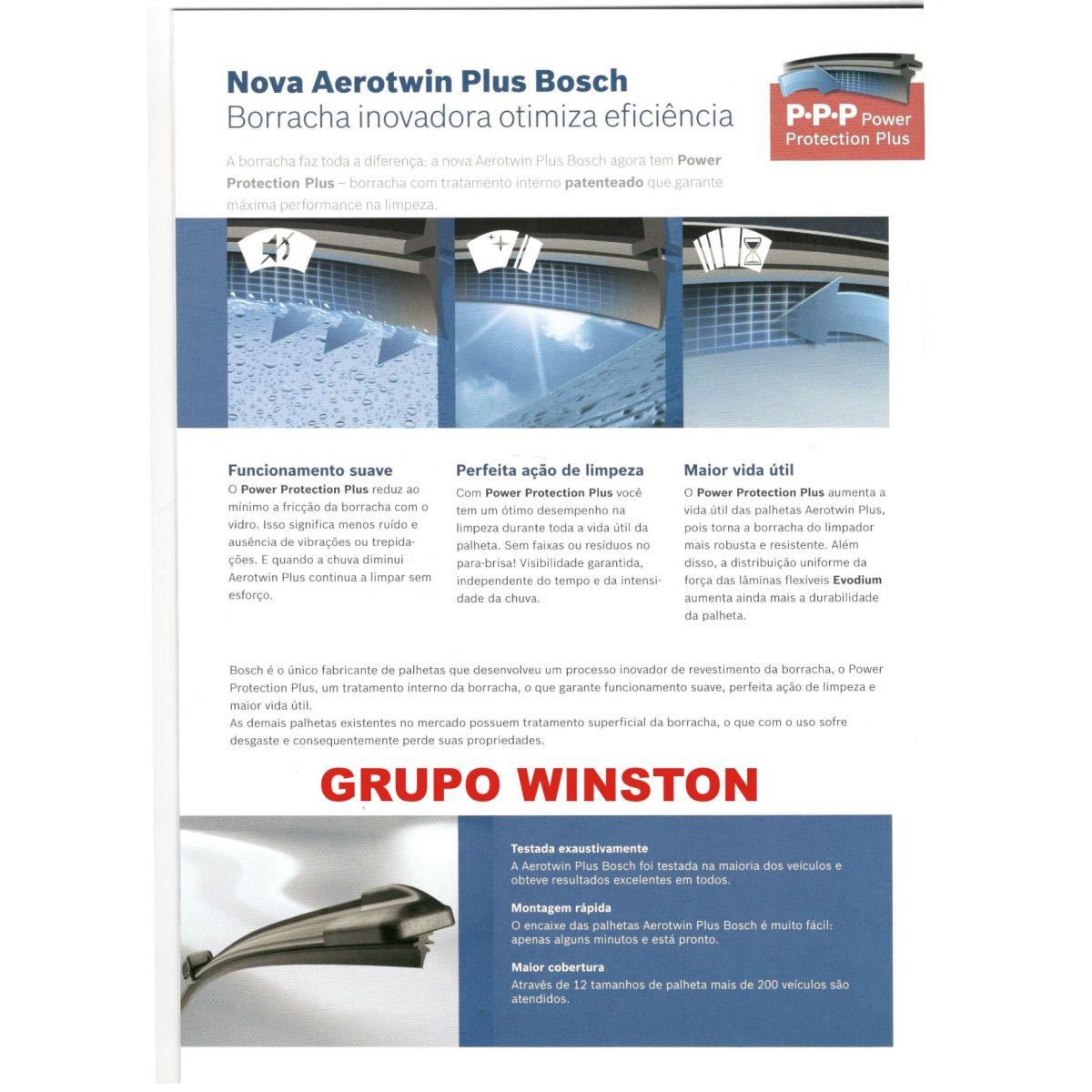 Palheta Bosch Aerotwin Plus Limpador de para brisa Bosch Peugeot 508 ano 2012 em diante RCZ ano 2011 em diante