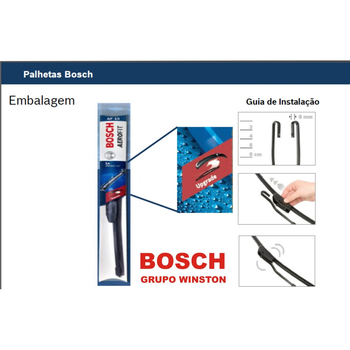 Palheta Bosch Aerofit Limpador de para brisa Bosch MITSUBISHI Colt