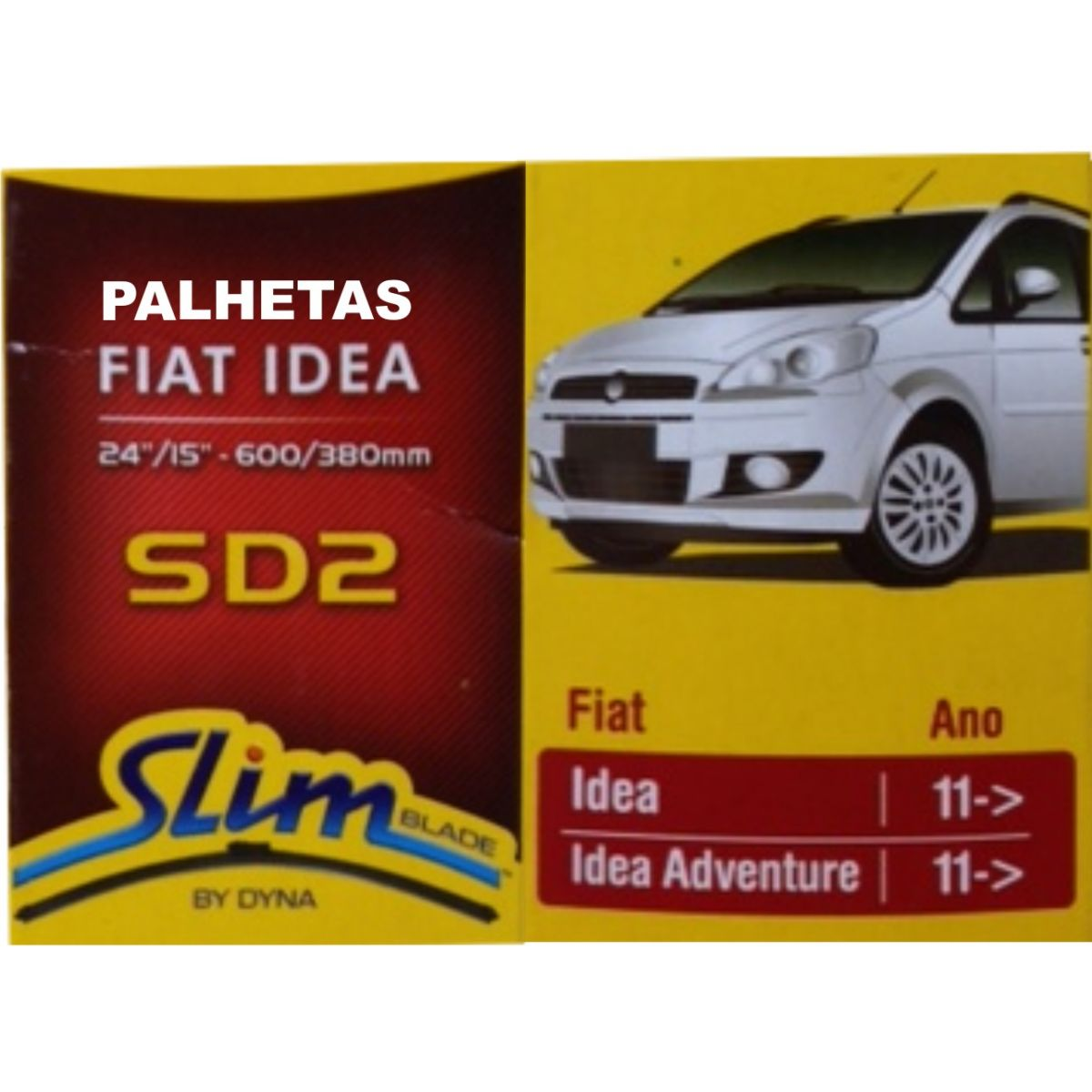 Par Palhetas Limpador Parabrisas Original DYNA SD2 Fiat Idea 2011 em diante