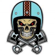 Adesivo Skull Biker Pistons - Unidade