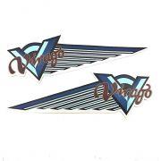 Emblema de Tanque Virago 250, 535, 750 e 1100 (Adesivo Azul) - PAR