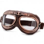Óculos Old School Clássico Aviador Aro Bronze e Lentes Cristal