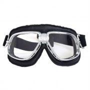 Óculos Old School Clássico Aviador Aro Cromado Lentes Cristal