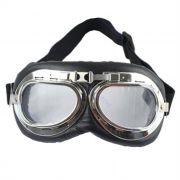 Óculos Old School Goggles Aviador Aro Cromado e Lentes Cristal