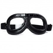 Óculos Old School Goggles Aviador Aro Preto e Lentes Cristal