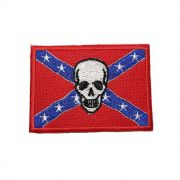 Patch Bordado Bandeira Confedrados Skull - 5 x 7 Cm