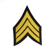 Patch Bordado Divisa de Sargento - 9 X 6,5 Cm