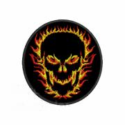 Patch Bordado Fire Skull - 8 x 8 Cm