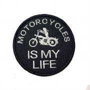 Patch Bordado Motorcycle Is My Life - 7,5 X 7,5 Cm