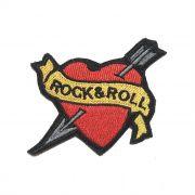 Patch Bordado Rock & Roll Coração - 6,5 X 7,5 Cm