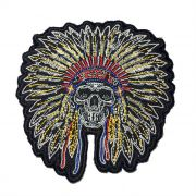 Patch Bordado Skull Indian - 12 x 11,5 Cm