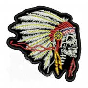 Patch Bordado Skull Indian - 7,5 x 8,5 Cm
