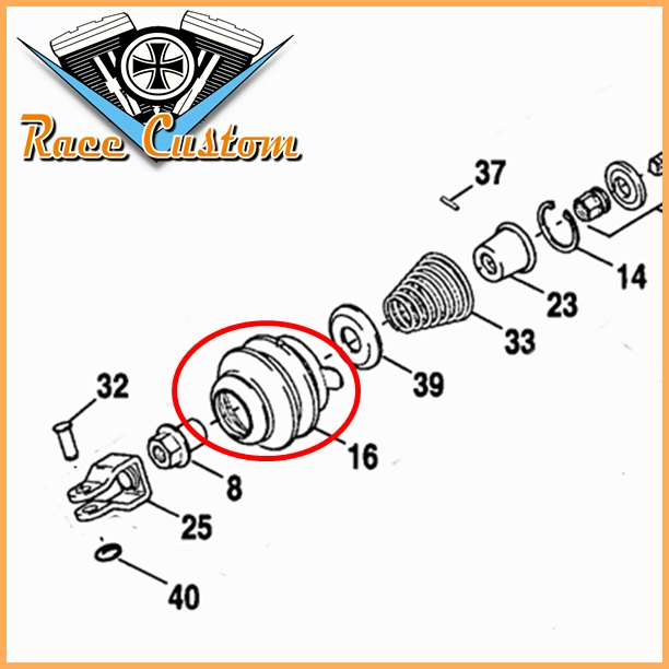 Coifa do Cilindro Mestre Compatível Tras. Sportster OEM 40946-04  - Race Custom