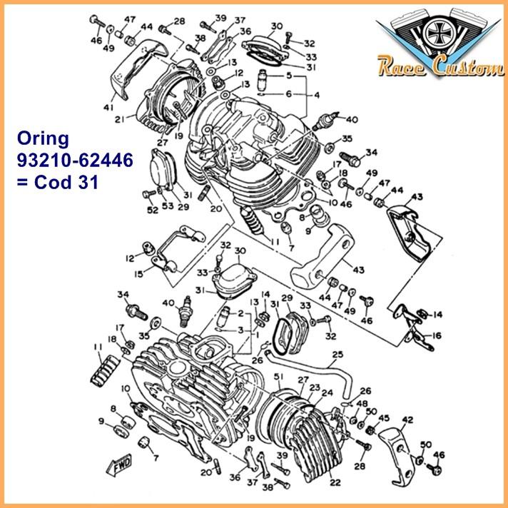Guarnição Oring Tampa de Regulagem Válvula Virago XV535 e Drag Star 650-1100 - KIT  - Race Custom