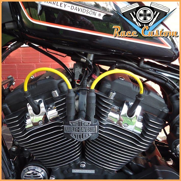 Cabo de Vela Harley Davidson Realocação Bobina - Amarelo e Preto - Mod II  - Race Custom