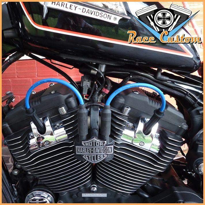 Cabo de Vela Harley Davidson Realocação Bobina - Azul e Preto - Mod II  - Race Custom