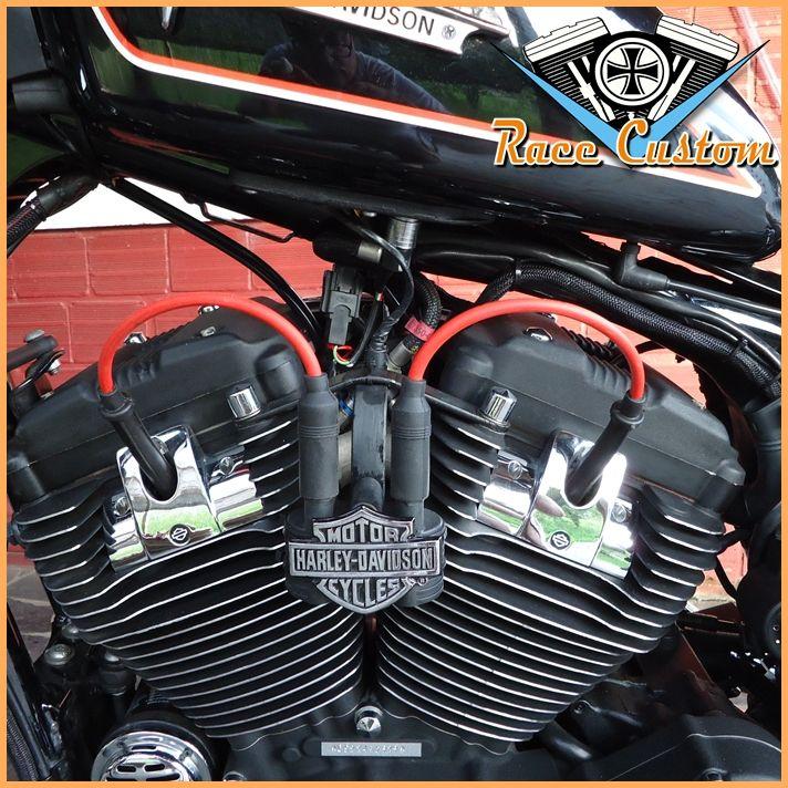 Cabo de Vela Harley Davidson Realocação Bobina - Vermelho e Preto - Mod II  - Race Custom