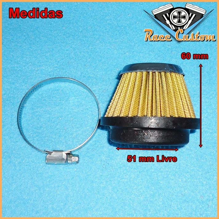 Filtro de Ar Cone Com Abraçadeira Conexão 51 mm  - Race Custom