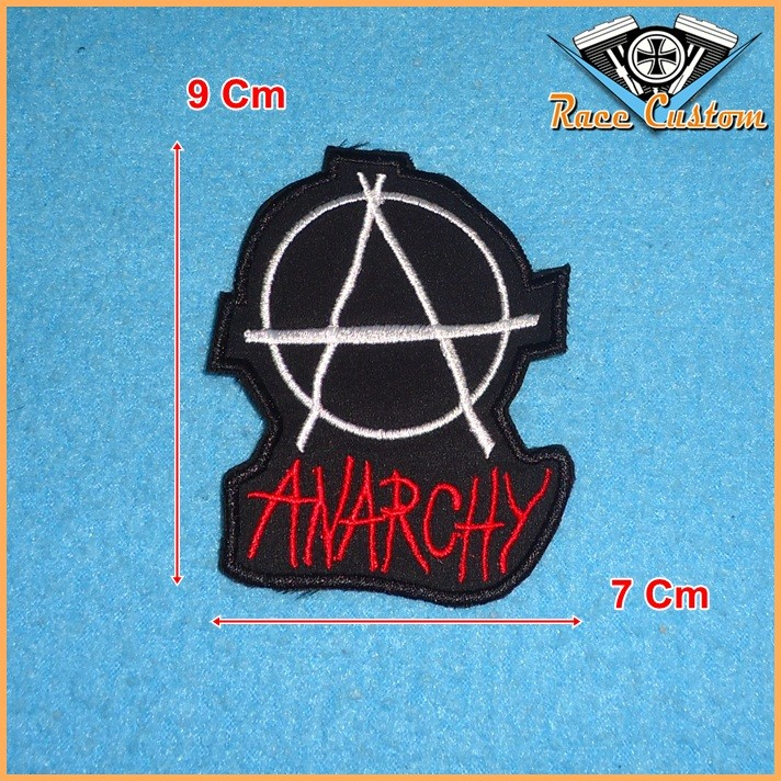 Patch Bordado Anarchy - 9 X 7 Cm  - Race Custom