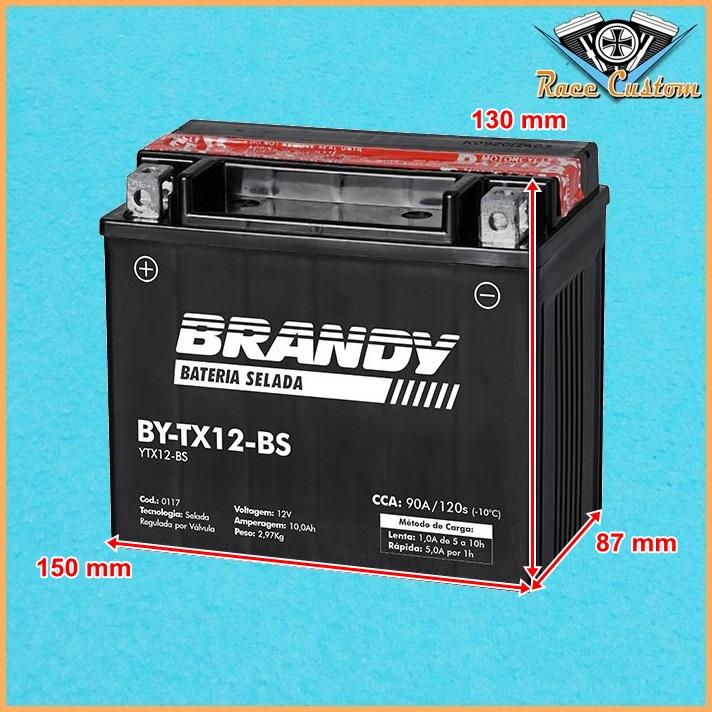 Bateria BY-TX12-BS - Marauder e Boulevard 800, Vucan 900 Classic, Bonneville e Thruxton 900  - Race Custom